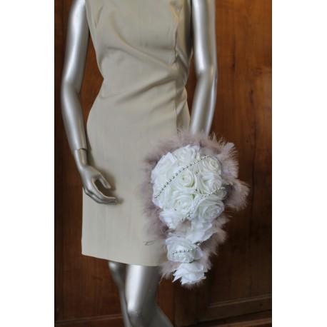 Bouquet mariée blanc, taupe gris et argent