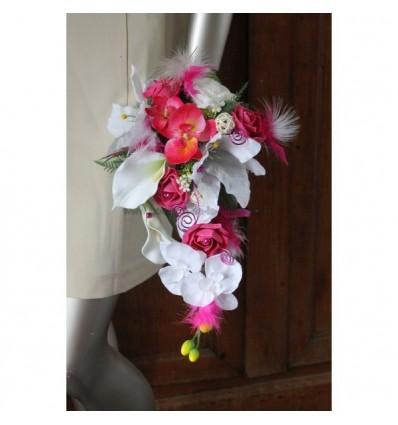 Bouquet mariage tombant orchidée blanc et fuschia