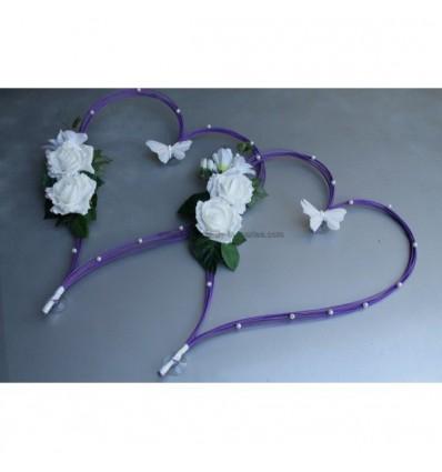 Cœurs de voiture mariage violet papillon