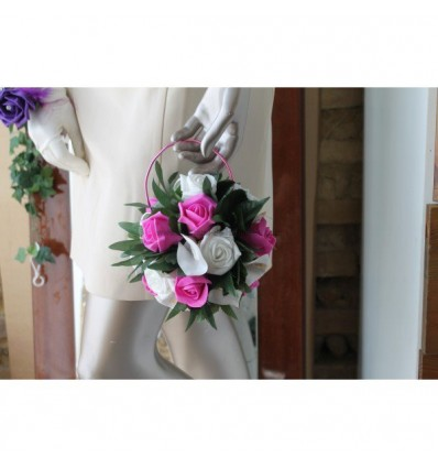 Bouquet mariée sac a main fuchsia et blanc