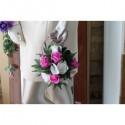 Elegant Bouquet de la mariee Sac à Main thème fuchsia et blanc
