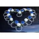 Magnifique décoration voiture de mariage thème cœur bleu et blanc