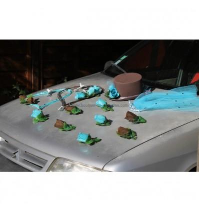 Décoration voiture mariées chapeau voile turquoise et chocolat