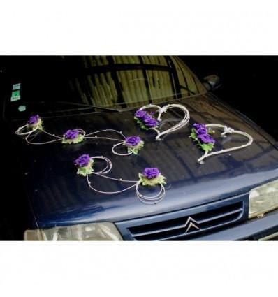 Cœurs mariage et compositions pour voiture de mariées