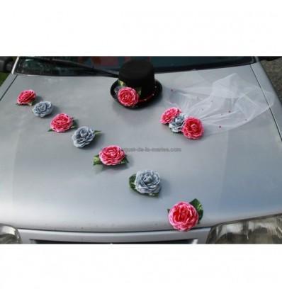 Fleurs mariage chapeau voile et roses gris et fuchsia