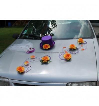Fleurs mariage chapeau voile et roses violette et orange