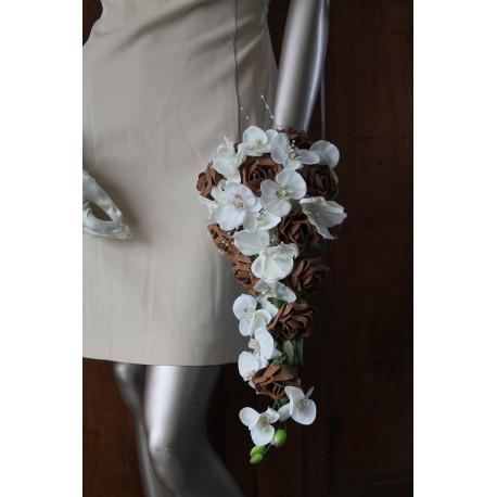 bouquet mariée orchidée chocolat ou bordeaux