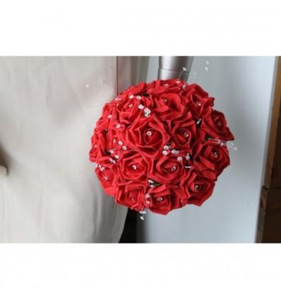 bouquet de mariée roses rouge et strass