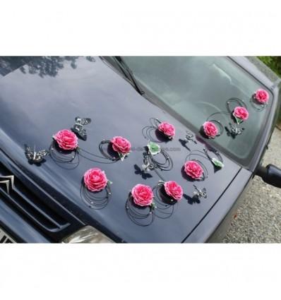 Decoration voiture mariage fuchsia noir papillon