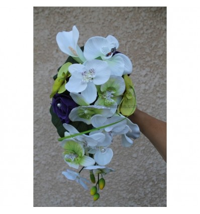 bouquet fleurs mariage cascade avec orchid e violet anis. Black Bedroom Furniture Sets. Home Design Ideas