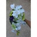 Bouquet Fleurs Mariage Cascade avec Orchidée Violet, Anis et Blanc