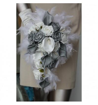 Bouquet fleurs mariage arums gris et blanc