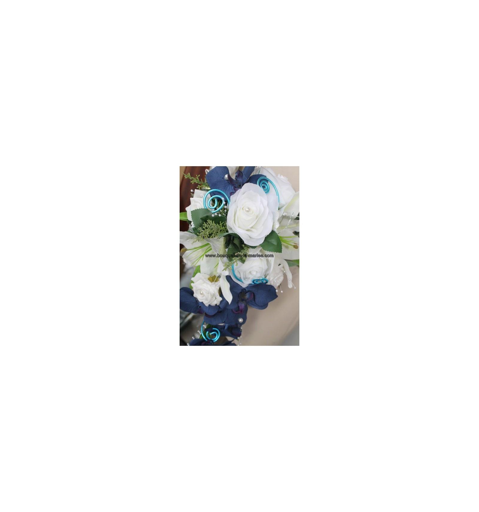 lot bouquet mari e bracelet et boutonni re orchid e bleu royal bouquet de la mariee. Black Bedroom Furniture Sets. Home Design Ideas