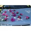 Composition voiture mariage fuchsia orchidée argent avec papillons