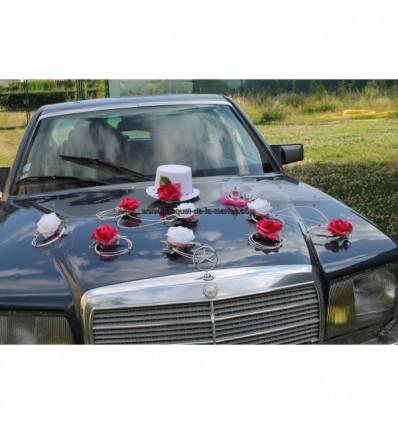 Composition voiture mariage chapeau voile fuschia
