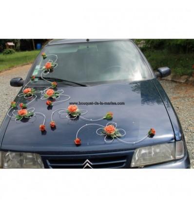Décoration voiture mariage blanc et orange