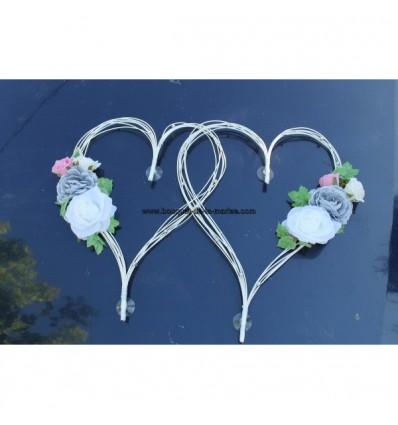 Décoration voiture mariage cœur gris et rose