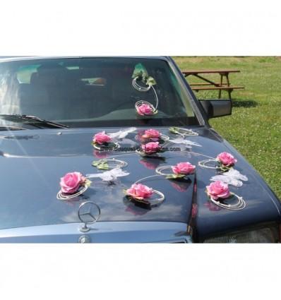 Décoration voiture mariage papillon rose tendre