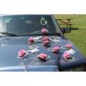 Décoration de voiture pour mariage thème papillon rose tendre