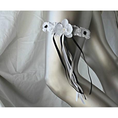 Jarretiere blanc noir strass