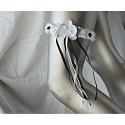Unique Jarretière blanche et noir avec orchidée et rubans