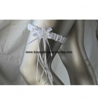 Jarretière mariée blanc et gris argenté