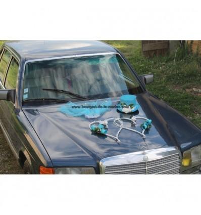 Décoration voiture mariage turquoise et blanc
