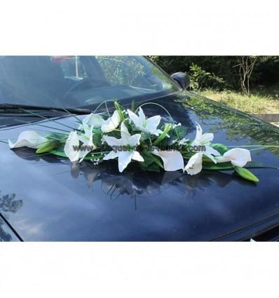 Gerbe voiture mariage couleur blanc et vert