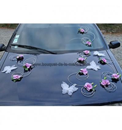 d coration pour voiture mariage parme avec orchid e et papillons bouquet de la mariee. Black Bedroom Furniture Sets. Home Design Ideas