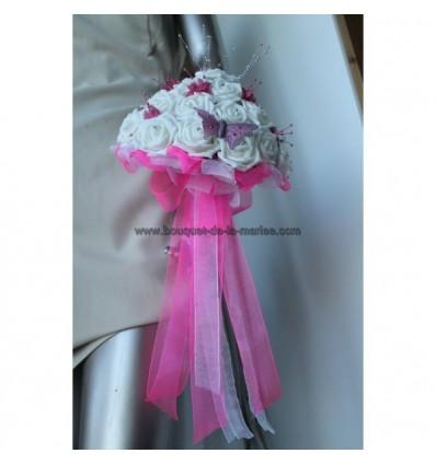 Bouquet de mariée blanc et fushia