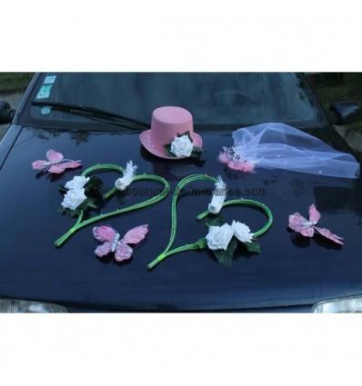 Composition voiture mariage vert et rose