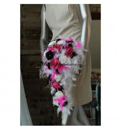 Bouquet marié blanc, noir et fuchsia plumes