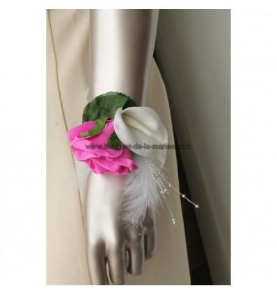 Bracelet des fleurs mariage blanc, fuchsia, argent