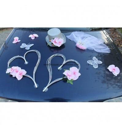 d coration voiture mariage orchid es et c urs gris et rose tendre bouquet de la mariee. Black Bedroom Furniture Sets. Home Design Ideas