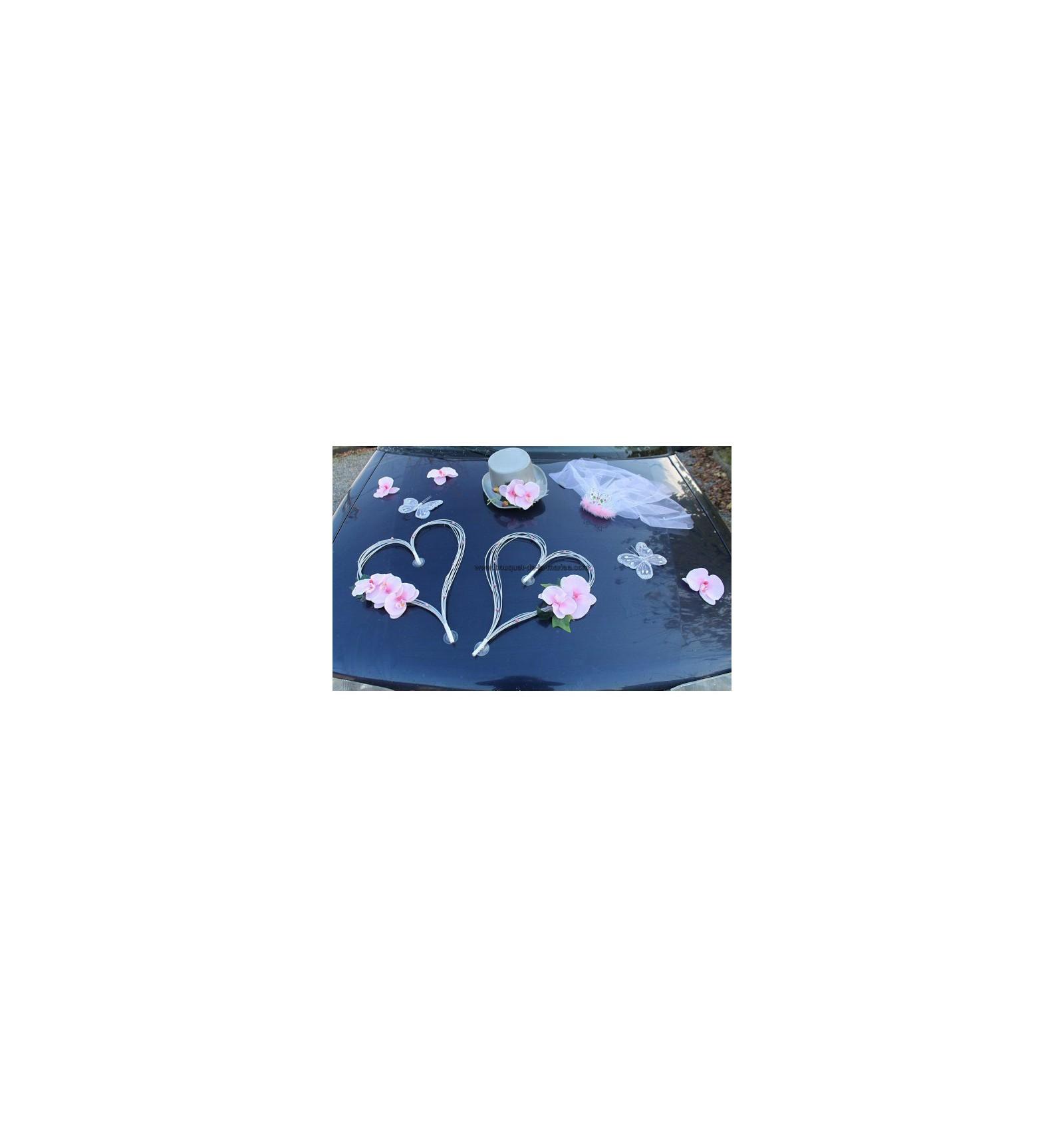 Decoration Voiture Mariage Gris Et Rose : Décoration voiture mariage orchidées et cœurs gris rose