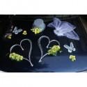 Décoration voiture mariage orchidées et cœurs gris et vert anis