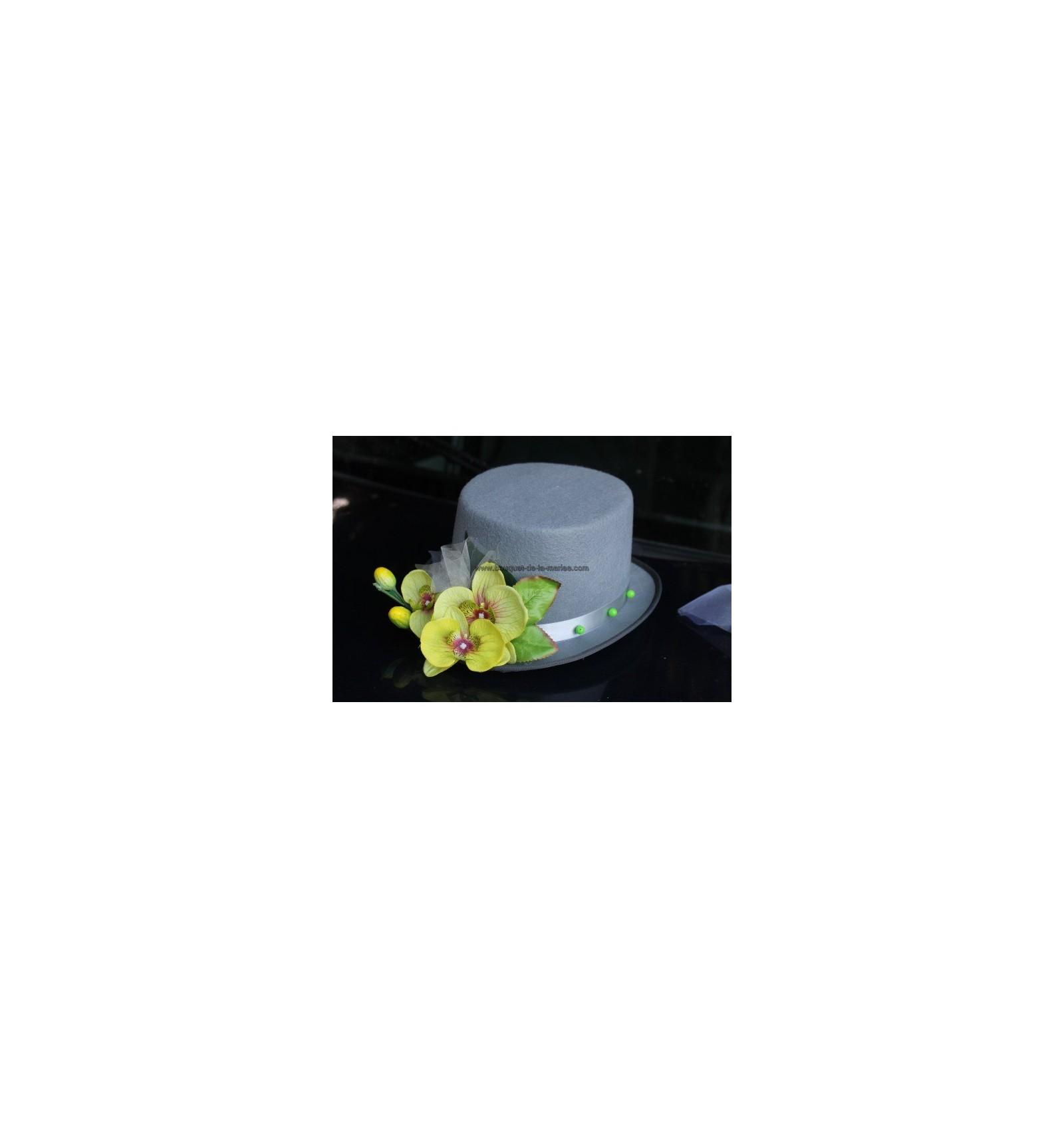 D coration voiture mariage orchid es et c urs gris et vert - Vert anis et gris ...