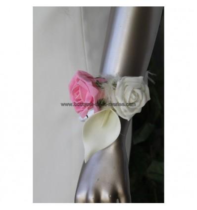 bracelet fleurs mariage fait main avec des roses et des arums bouquet de la mariee. Black Bedroom Furniture Sets. Home Design Ideas