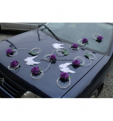 Décoration voiture mariage roses ailes anges