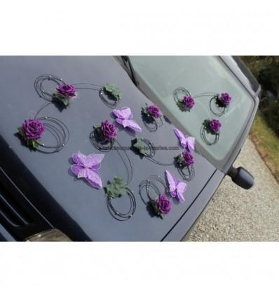 Décoration voiture mariage papillon fuchsia OU prune