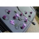 Décoration pour voiture de mariage avec papillon fuchsia ou prune