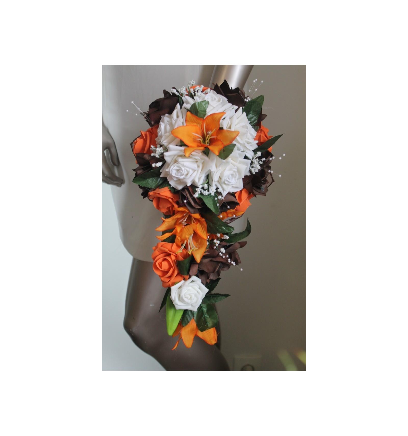 bouquet mariage cascade thème chocolat orange avec roses et lys