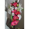 Bouquet mariage Tombant SPLENDIDE thème Orchidée Fuchsia Vert