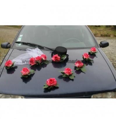 d coration de voiture de mariage avec un chapeau et voile fuchsia bouquet de la mariee. Black Bedroom Furniture Sets. Home Design Ideas
