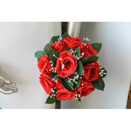 Bouquet Mariage Rond Roses Roges et Gypsophile