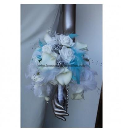 Magnifique bouquet mariage blanc,argent et turquoise