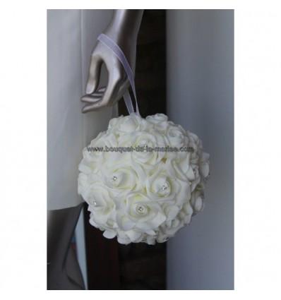 Bouquet Mariée Mariage Boule de Roses Ivoire