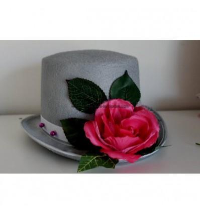 Décoration voiture mariage chapeau voile fuchsia blanc