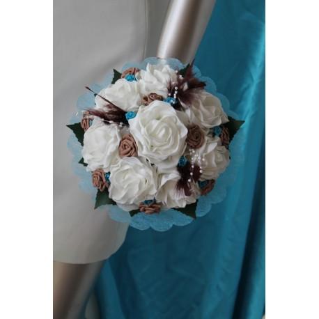 Bouquet de Mariée Rond thème Voyage avec plumes, perles et roses