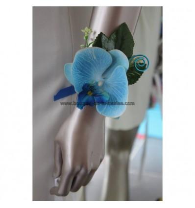 Pour mariage: Bracelet d'orchidée bleu avec perles et feuilles